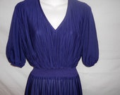 Purple Samuel Blue vintage sexy flowy dress size 14 v -neck