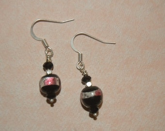 Black, pink & silver foil earrings