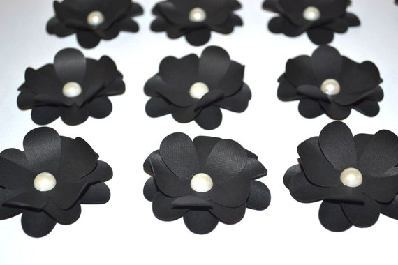 Paper Flower Embellishments and Accents, Black and White. Set of  6, For Cards, Scrapbook, Gifts