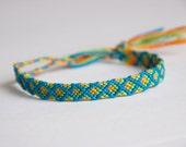 Diamond Floss Friendship Bracelet, Blue, Green, Gold, Orange