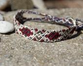 Friendship Bracelet, white, red, blue, grey / gray