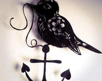 Original Paper Cut silhouette little bird on an anchor