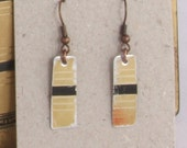 Gold and black recycled tin earrings - made from Whitman's Chocolate candy tin