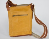 Repurposed, upcycled brown, mustard yellow, leather cross body purse