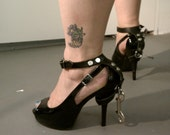 Leather Stiletto Ankle Cuffs- Hand made
