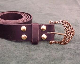 Handmade leather belt w/ Celtic/ Viking buckle