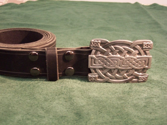 handmade leather belt w trophy buckle celtic