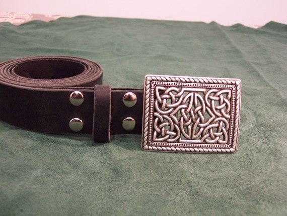 handmade leather belt w trophy buckle celtic square