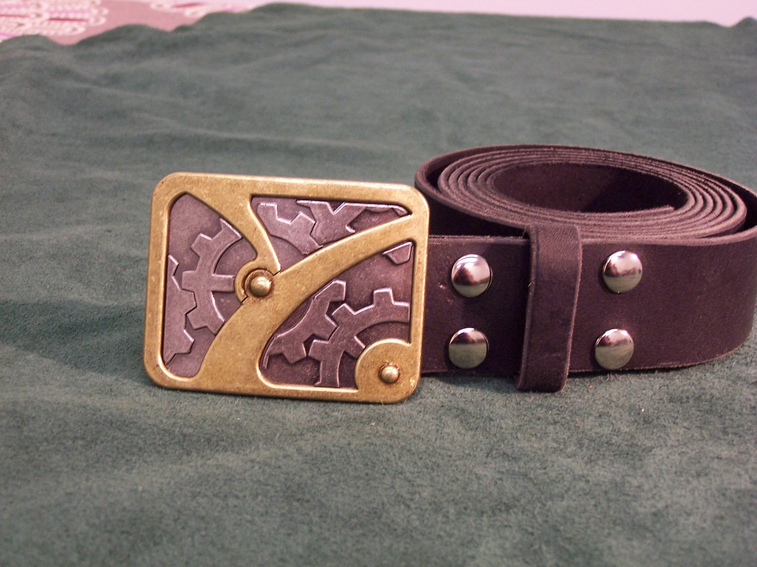 handmade leather belt w steunk trophy buckle