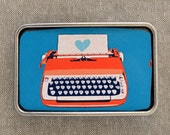 Bold Graphic Vintage Typewriter Buckle