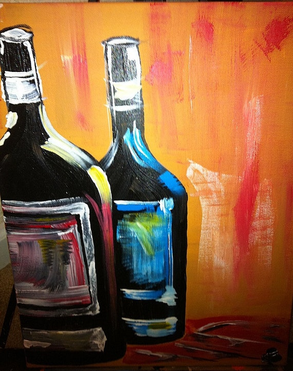 Wine bottles painting 16x20 acrylic on canvas by brynneperry for How to paint bottles with acrylic