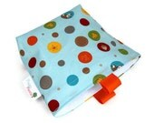 Reusable Snack Bag, Eco Friendly, Gusset and Finger Tabs, Back to School, Fox Trails Print in Blue - Pepperpicnic