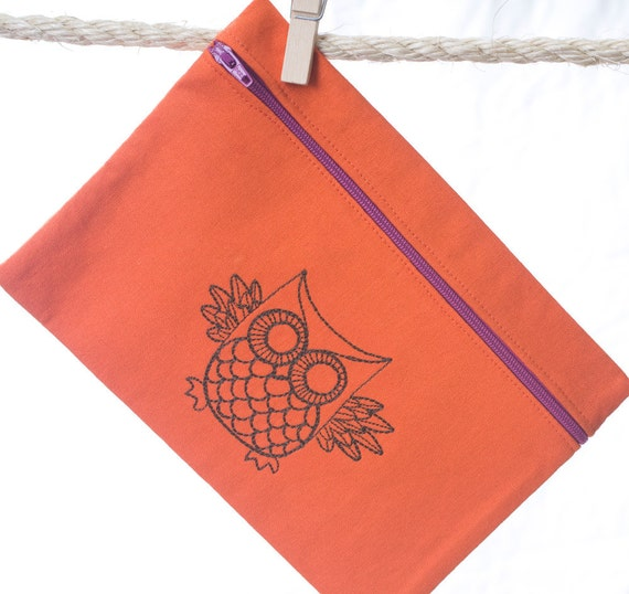 Zipper Pouch Retro Owl Party Favor Bags Made to Order