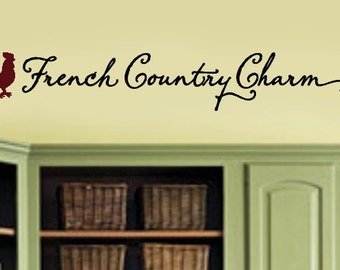 French Country Charm with Rooster Kitchen VInyl Wall Lettering Decal Large Size Options