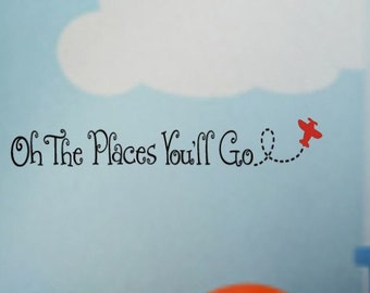 Oh The Places You'll Go AIRPLANE Boy's Room VInyl Wall Lettering Decal Large Size Options