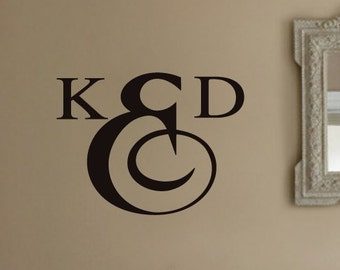 Personalized initials Bathroom monogram VInyl Wall Lettering Decal