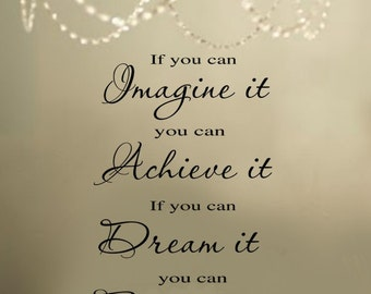 Imagine Achieve Dream Become  Family Vinyl Wall Lettering Decal