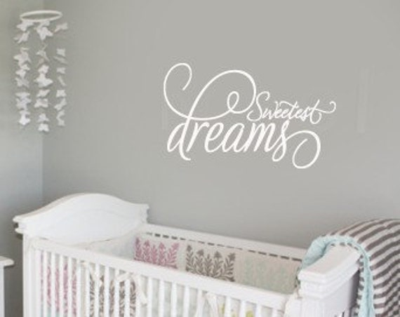 Sweet Dreams Baby Nursery VInyl Wall Lettering Decal Large size options 39+ colors