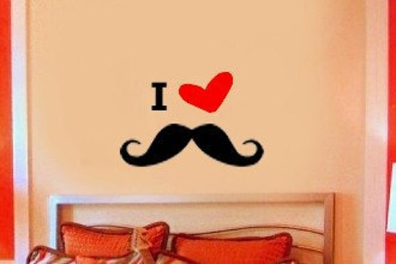 I Love Mustaches Vinyl Wall Lettering Decal Kids Room