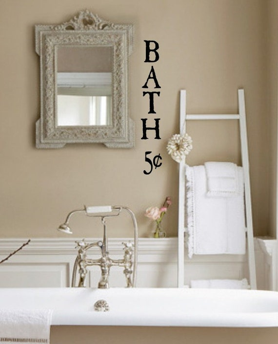 Bath 5 cents bathroom vinyl wall lettering decal for Bathroom wall letters