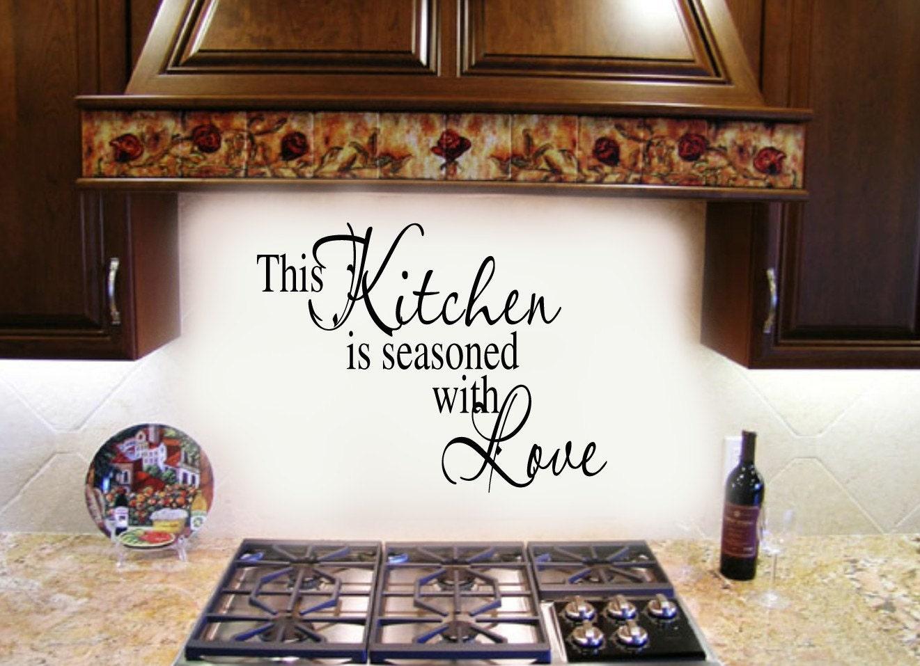 Esta cocina está sazonada con Quote Pared amor Decal ()