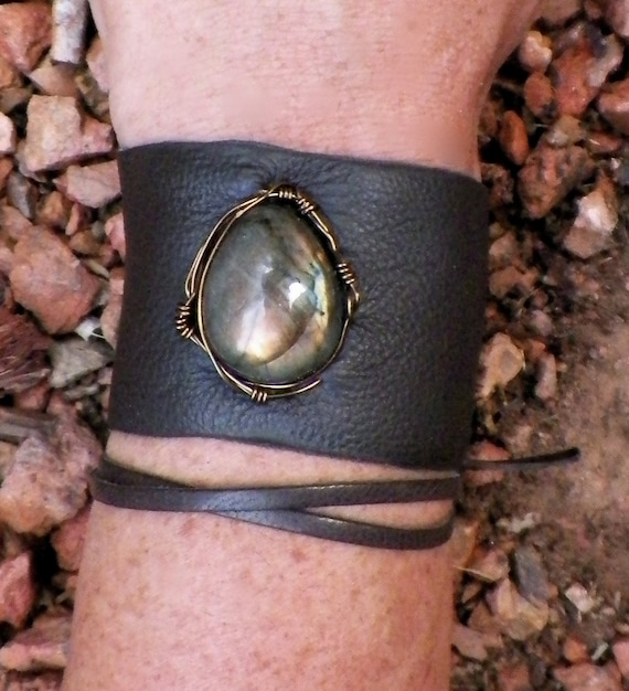transformation...upcycled leather labradorite cuff
