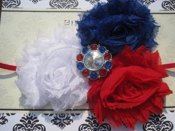 4th of July Baby Headband, Baby Headband, Red, White, Royal Blue Headband, Baby Bow, Infant Headband, Newborn Headband