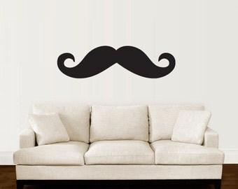 Mustache - Mustache Wall Decal - Vinyl Wall Art -- Vinyl Wall Decal