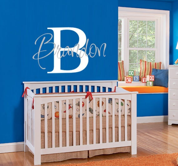 "Personalized Childrens Decor Monogram - Vinyl Wall Art - Vinyl Decal for Boy or Girl Nursery 18""h x 32""w"