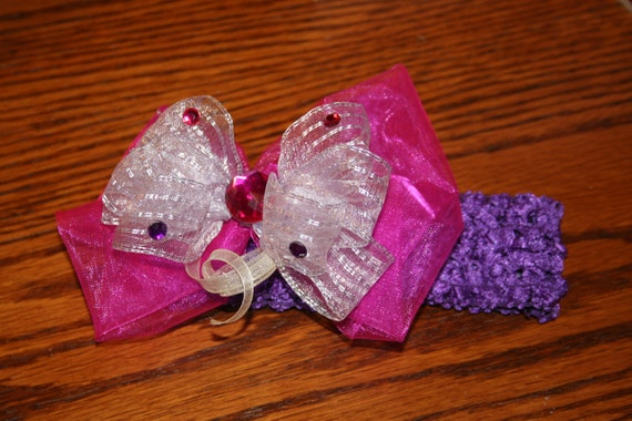 Shades of purple infant/child bow with deep purple headband