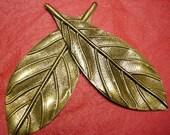 6pc antique bronze filigree leaf pendant-4063