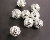8pc silver finish 9mm Brass Beads(wire wrapped)-1556