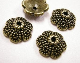 12pc 11.5mm antique bronze metal bead cap-4161
