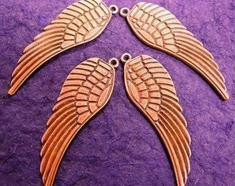 6pcs antique copper large angel wing charm-1795