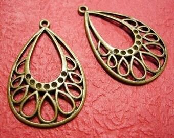 4pc antique bronze metal alloy pendant-3375