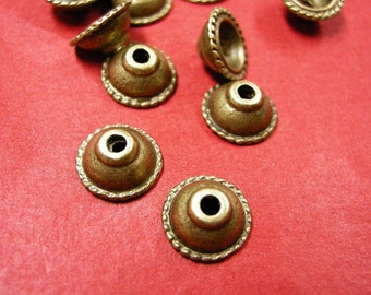 12pc 9.5mm antique bronze metal bead caps-4986