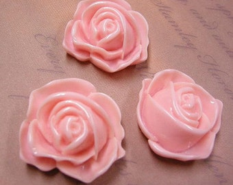 50% discount-4pc 32mm Pink Resin Flower Cabochon-4926