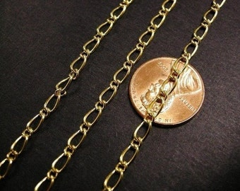 5 feet gold finish 6x3mm mother and son chain-2539