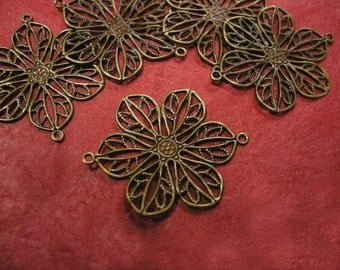 12pc antique bronze filigree flower connector-303