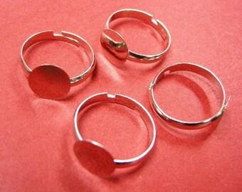 6pc platinum look adjustable ring shanks-4838