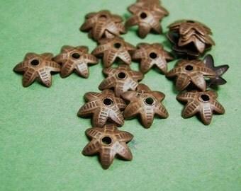 50pc 8mm antique copper nickel free bead cap-2292