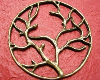 2pc antique bronze round tree pendant-3346
