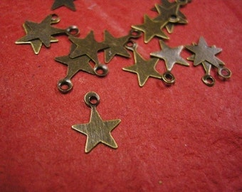100pc antique bronze star stape metal drops-3666