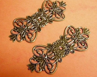 8pc lead nickel free antique bronze filigree wrap-2451