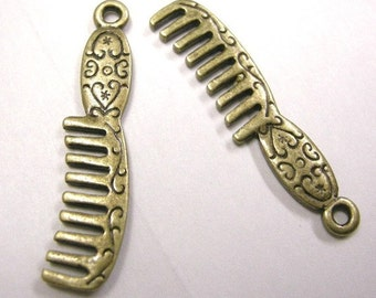 6pc antique bronze metal comb pendant-3829