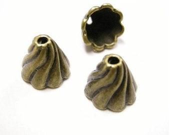 6pc antique bronze13mm fancy bead cap-3689