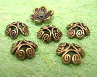 12pc antique bronze fancy metal bead cap-1244