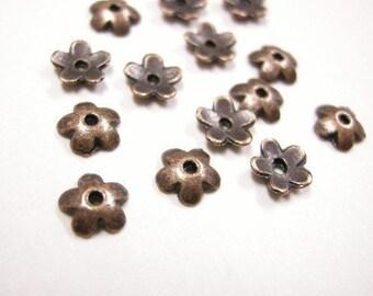 24pc 6mm antique copper flower bead-3963