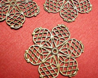 10pc 26mm antique bronze filigree wraps-4212