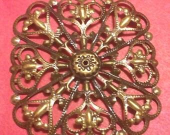 6pc 50mm antique bronze filigree metal wraps-E1